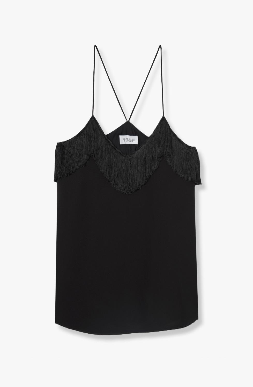 Fringe Detail Camisole - Black   DEREK LAM®