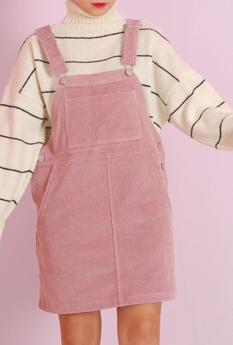 dress pink corduroy skirt overalls striped shirt stripes white white shirt big shirt