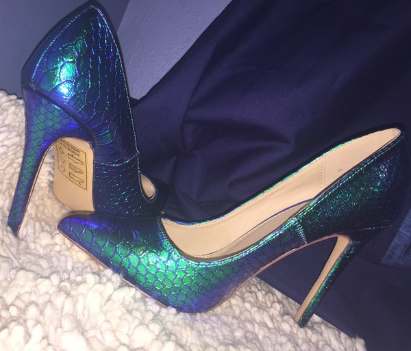 shoes mermaid mermaid shoes faux reptile snake print stilettos metallic heels heels shiny animal print fall colors spring maxi dress rue 21 sexy
