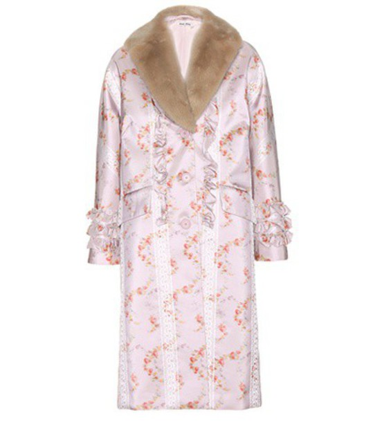 Miu Miu coat fur silk