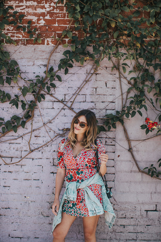 dress tumblr mini dress floral floral dress summer dress summer outfits denim jeans blue jeans sunglasses