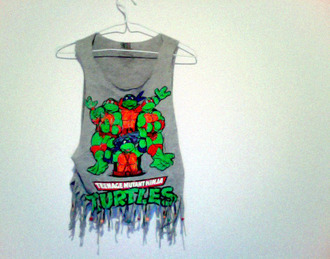top cropped turtles grey shirt green shirt orange shirt blue shirt shirt