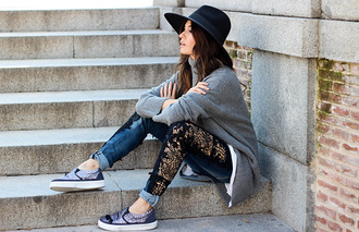 blogger vans denim hat gold madame rosa embellished