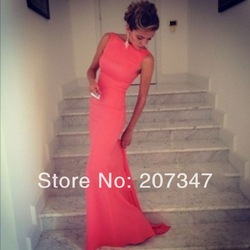 Online Shop 2014 Beach Dresses Vintage Bateau Neckline White Summer Sexy Evening Dresses Spandex Tight Maxi Dresses|Aliexpress Mobile