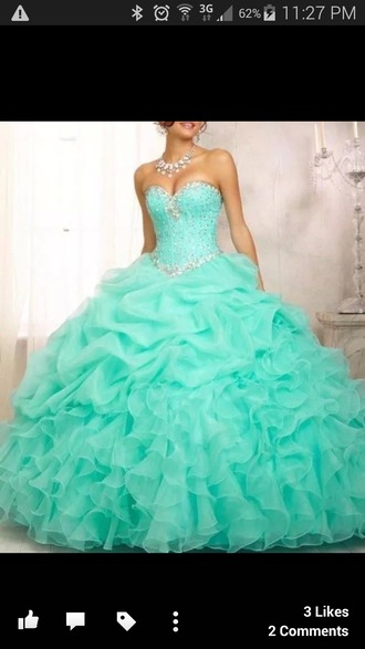 dress teal dress poofy bling-bling