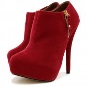 Buy Womens Red Ankle Zip Platform Stiletto Heel Suede Style Shoe Boots