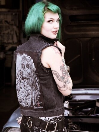 jacket sleeveless sleeveless jean jacket denim jacket denim black grunge rock chick disturbia gilet