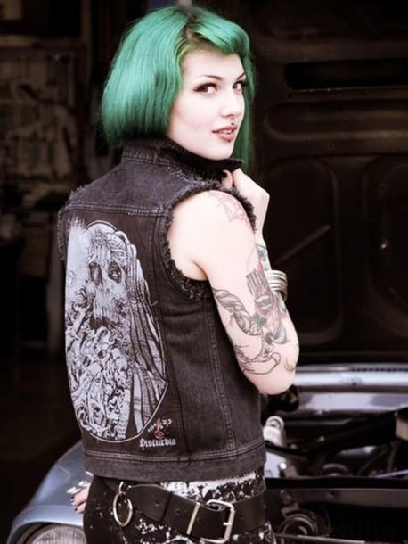 Jacket: sleeveless, sleeveless jean jacket, denim jacket ...