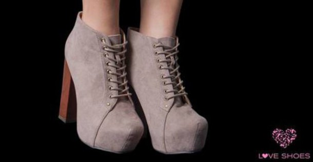 shoes high heels heels taupe talons boots bottines platform lace up boots