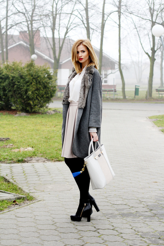 beauty fashion shopping blogger grey coat white bag coat skirt shirt shoes bag jewels