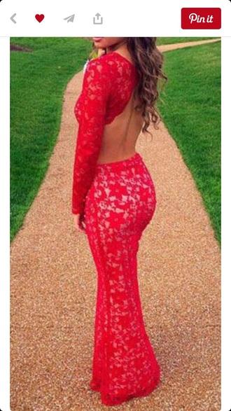 dress red lace sexy lace sexy long sleeve dress long prom dress long sleeves red dress backless dress backless prom dress prom dress prom cute sexy dress