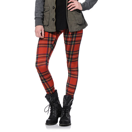 441a638ae4654 See You Monday Red Plaid Leggings