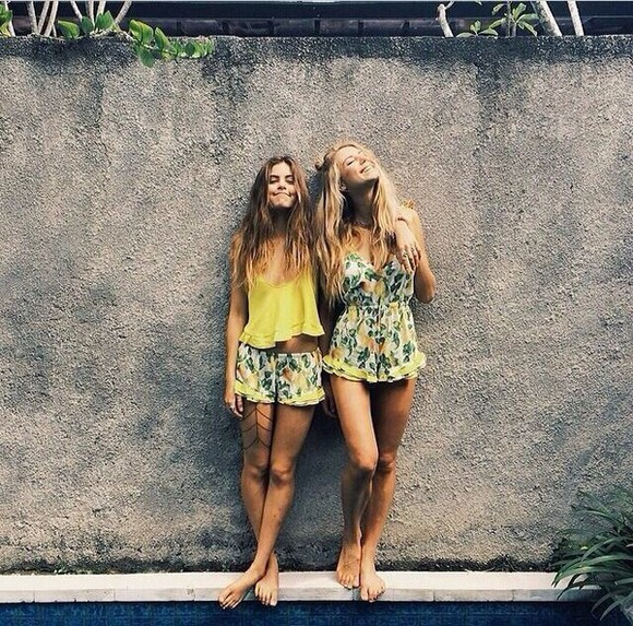 summer dress brunette fashion floral shorts flower dress floral yellow yellow dress yellow top blonde hair tumblr summer outfits