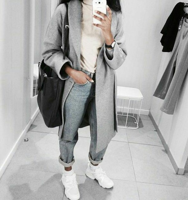 Jeans jacket grey beautiful tumblr outfit swag coat pants bag - Wheretoget