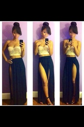 skirt,tank top,top,maxi skirt,double side splits,crop tops,spets,long,long skirt,fashion,style,slit skirt,double slit skirt,navy,navy dress,bustier,strapless,lace top,bralette,slit maxi skirt