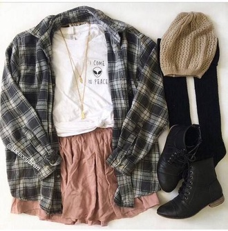 shirt extra-terrestrial white t-shirt winter outfits skirt boots plaid jacket beanie fashion outfit style