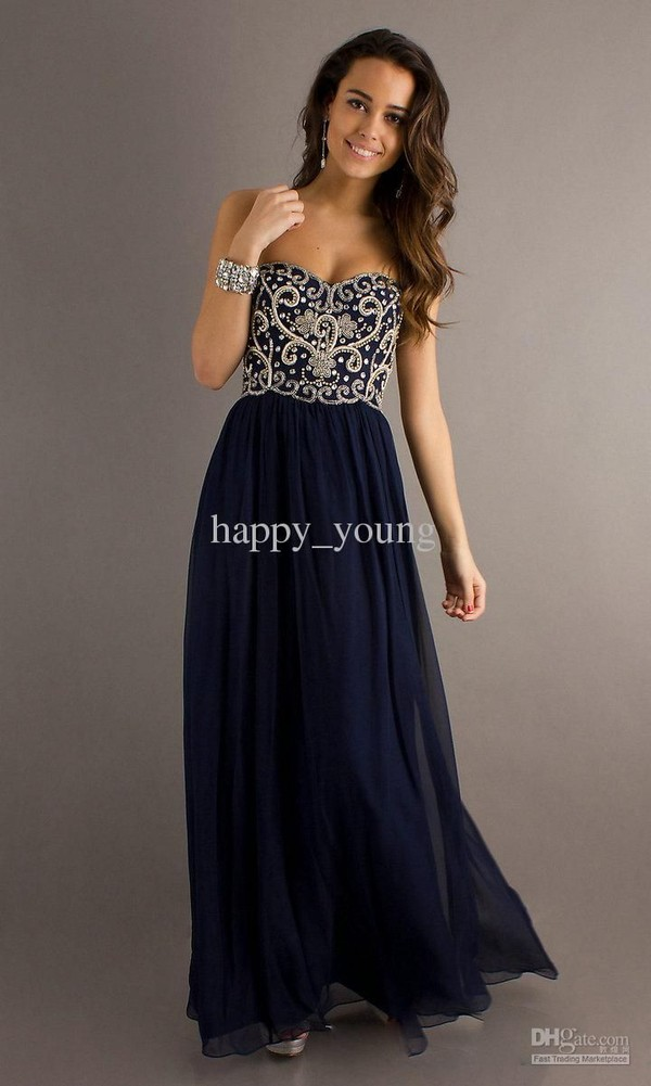 dress prom navy detail sweetheart prom dress DHgate Happy_Young