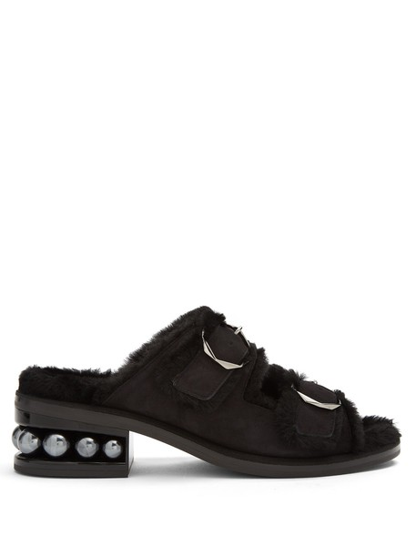 Nicholas Kirkwood pearl sandals suede black shoes