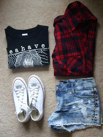 jacket shorts flannel shirt style high waisted shorts high waisted denim shorts black converse red beautiful swag girl outfit streetstyle cute denim white converse fashion blouse shoes where to get these shorts? where to get this shirt? top t-shirt cute shirt casual lovely fall outfits graphic tee plaid behave grunge flannel shirt cardigan