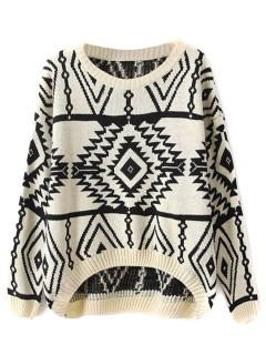 Beige vintage pop pattern jumper with dipped hem