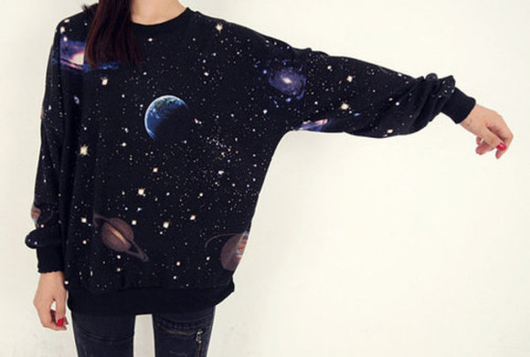 sweater galaxy space b&w cool planet tumblr pull beautiful black stars grunge moon cool girl style hipster top cute planets adorable must haves