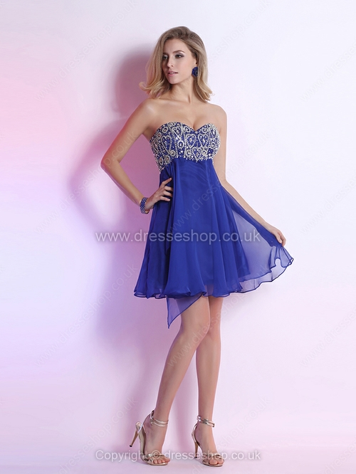 Empire Sweetheart Chiffon Short/Mini Rhinestone Homecoming Dresses - www.dresseshop.co.uk