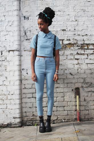 shirt high waist pants short peter pan collar