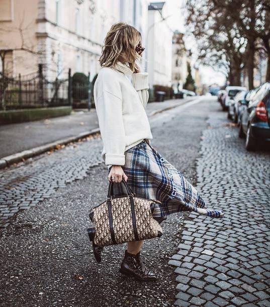 skirt midi skirt acne studios plaid dior bag ankle boots white sweater turtleneck sweater