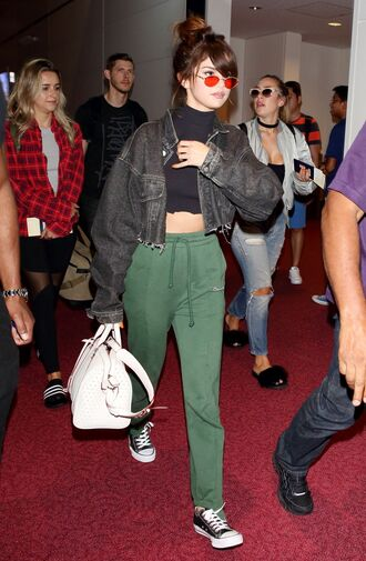 pants sweatpants crop tops jacket selena gomez sneakers sunglasses purse