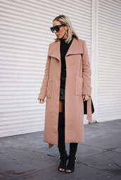 coat,tumblr,camel,camel coat,long coat,boots,black boots,over the knee boots,thigh high boots,peep toe boots,skirt,mini skirt,leather skirt,black leather skirt,sweater,black sweater,sunglasses