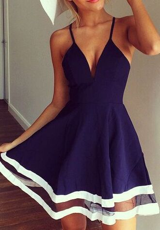 dress a-line dresses nautical knee length wedding guest cute navy navy dress spaghetti strap deep v neck dress