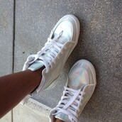 shoes,high tops,silver,sparkle,summer,sneakers,white,holographic,vintage,disco,neon,swag,hightop,high top sneakers,shiny,glossy,rainbow,stylish,platform shoes,jordans,nikes,silver shoes,kicks,white sneakers,trainers,retro,shimmer,shimmery,cool,dope,amazing,holographic shoes,hologram shoes,metallic,cute,style,tennis shoes,metallic shoes,hipster,90s grunge,whiteshoes,irredesent,tumbr,high top,lace up,nike,iridescent