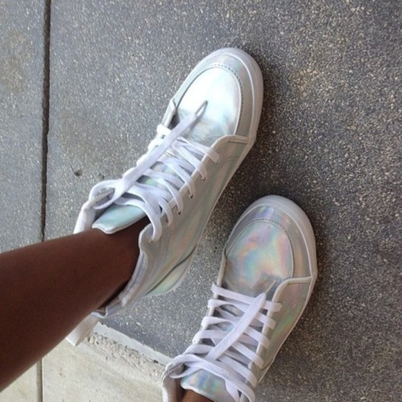 high top sneaker sneakers high sneakers shoes white silver trainers cool silver shoes kicks white trainers sparkles retro shimmer shimmery dope urban sweet amazing holographic vintage disco high tops sparkly summer neon swag hologram nikes rainbow platform shoes jordans