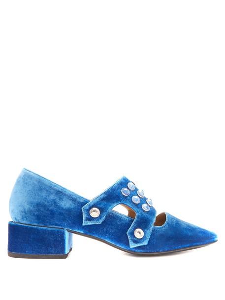 Toga heel embellished loafers velvet blue shoes