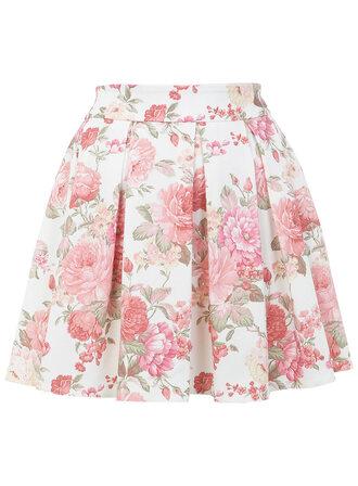 skirt flowers skirt pastel skater skirt rose
