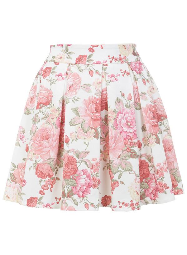 Skirt Flowers Skirt Pastel Skater Skirt Rose Wheretoget