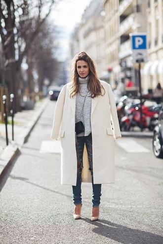 coat white coat grey turtleneck jeans white stilettos blogger