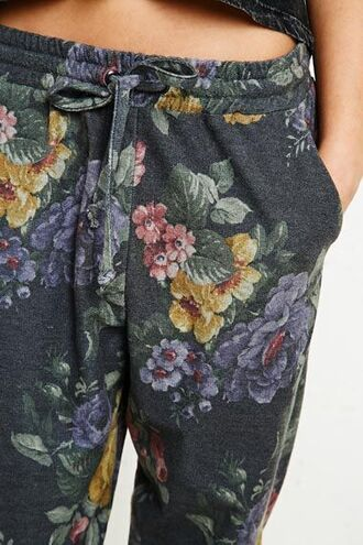 pants fleurie joggers noir printed pants floral floral sweatpants tight bottoms grey sweatpants drawstring floral print pants floral joggers draw string grey sweatpants lounge pants flowers yellow pink