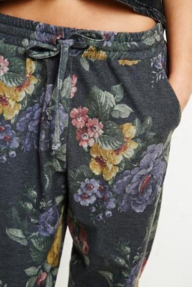 pants printed pants fleurie sweatpants noir floral floral sweatpants grey sweatpants drawstring floral floral print pants floral