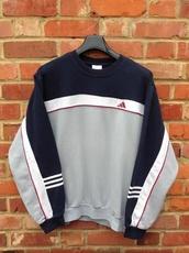 sweater,grey,red,adidas,white,blue,black,girl,vintage