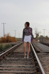 platforms for breakfast,blogger,skorts,blouse,embellished,top,shoes,bag
