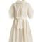 Ruffle-trimmed drawstring-waist cotton-blend dress