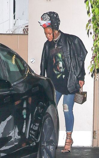 sweater sweatshirt jacket sandals jeans rihanna streetstyle celebrity