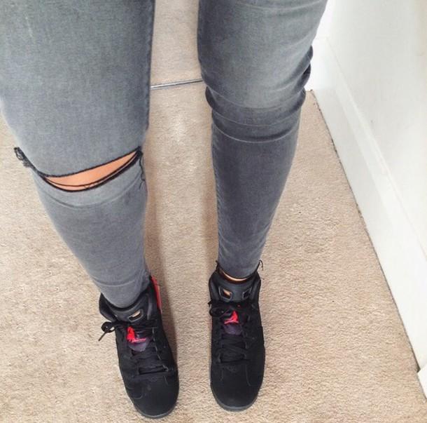 jeans grey jeans jordans old school dope shoes