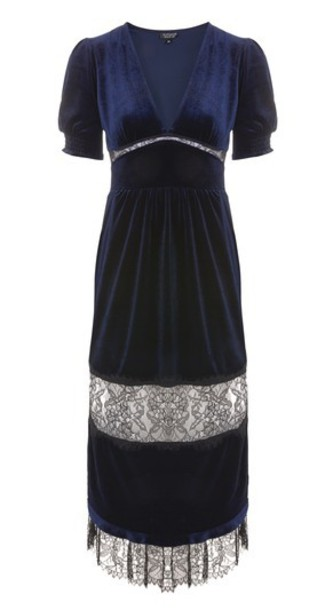 Topshop dress midi dress midi lace navy blue