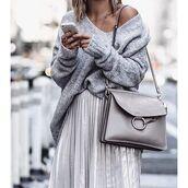 bag,tumblr,grey bag,shoulder bag,chloe faye bag,chloe,chloe bag,sweater,oversized sweater,oversized,grey sweater,skirt,silver,pleated skirt,off the shoulder sweater,metallic pleated skirt,metallic skirt,silver skirt,all grey everything,grey oversized sweater