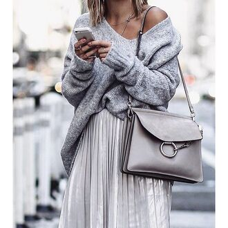 bag tumblr grey bag shoulder bag chloe faye bag chloe chloe bag sweater oversized sweater oversized grey sweater skirt silver pleated skirt off the shoulder sweater metallic pleated skirt metallic skirt silver skirt all grey everything grey oversized sweater