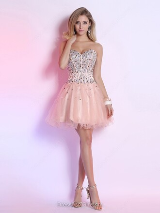 dress pink prom fashion style tulle dress girly trendy strapless feminine cocktail dress dressofgirl