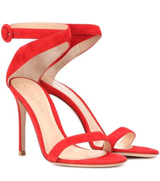 Gianvito Rossi Exclusive to mytheresa.com – Cross strap suede sandals in red