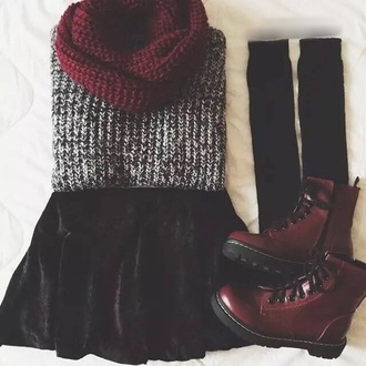 sweater red black shoes cute shoes winter sweater velvet skirt infinity scarf knee high socks drmartens scarf socks skirt grunge knit knitted sweater red boots boots black leg warmers knitted scarf black skirt leg warmers fall outfits